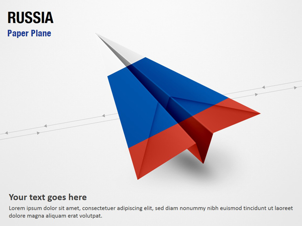 Paper Plane with Russia Flag