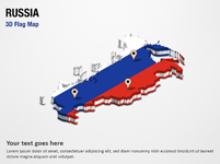 3D Section Map with Russia Flag