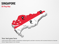 3D Section Map with Singapore Flag