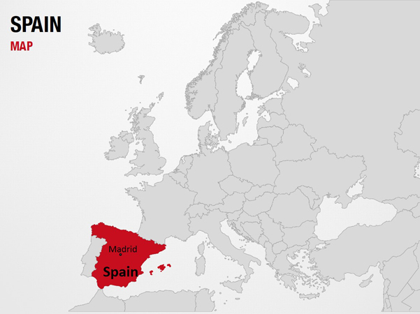 Spain on World Map