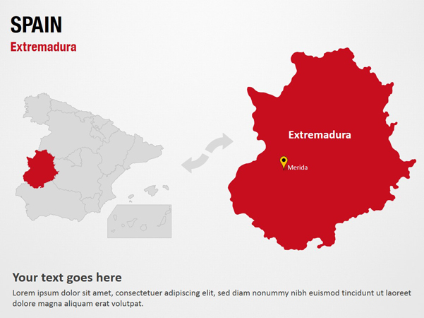 Map Of Spain Extremadura.Extremadura Spain Powerpoint Map Slides Extremadura Spain Map Ppt Slides Powerpoint Map Slides Of Extremadura Spain Powerpoint Map Templates