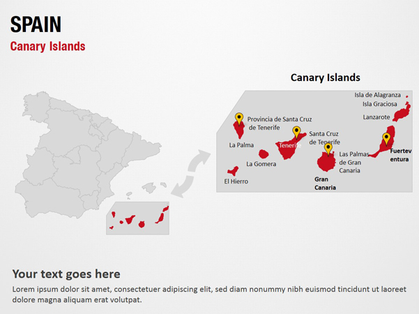 Canary Islands - Spain PowerPoint Map Slides - Canary Islands ... on