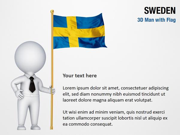 3D Man with Sweden Flag