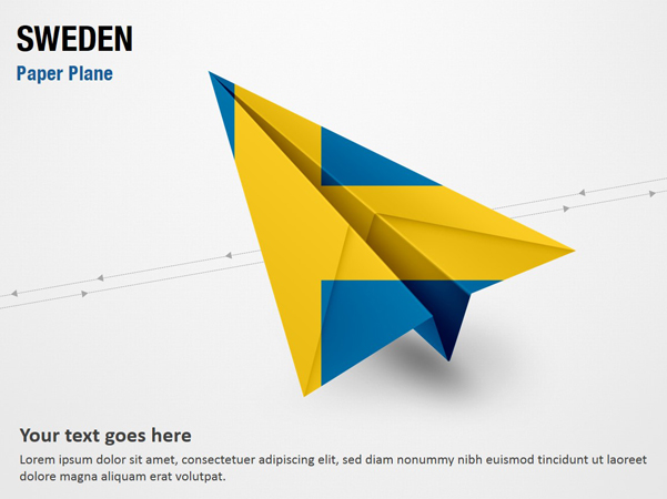 Paper Plane with Sweden Flag
