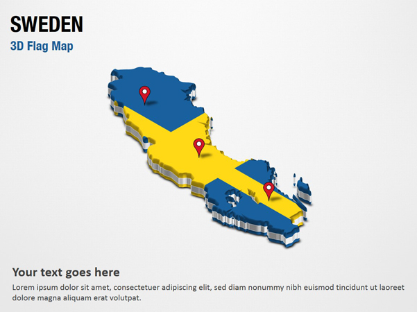 3D Section Map with Sweden Flag