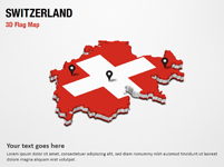 3D Section Map with Switzerland Flag