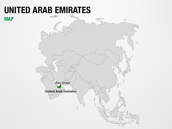 United Arab Emirates on World Map