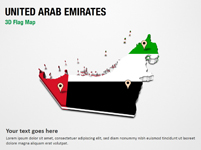 3D Section Map with United Arab Emirates Flag