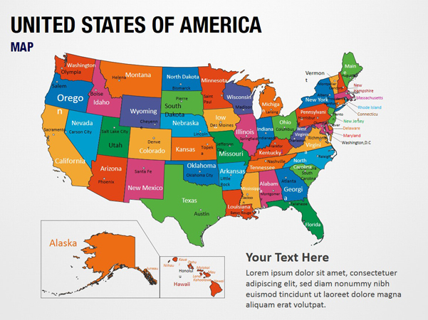 United States of America Map PowerPoint Map Slides - United ...