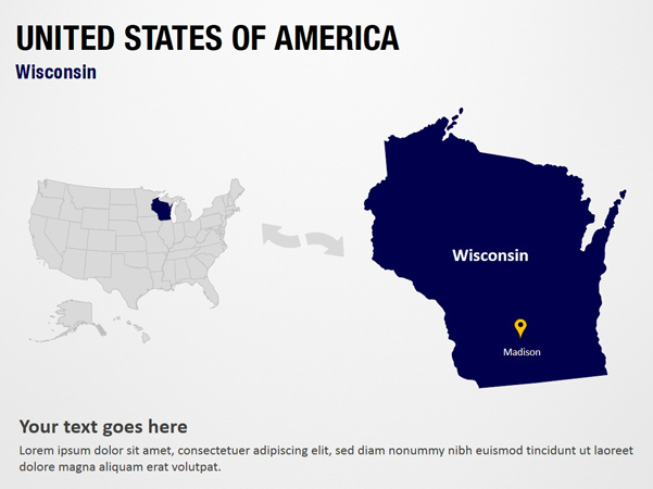 Wisconsin - United States of America PowerPoint Map Slides ...