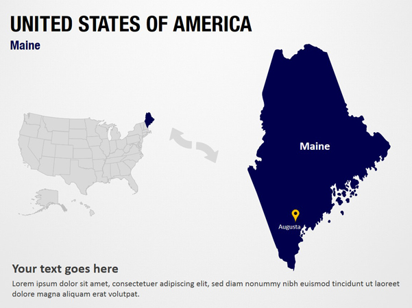Maine  United States Of America PowerPoint Map Slides