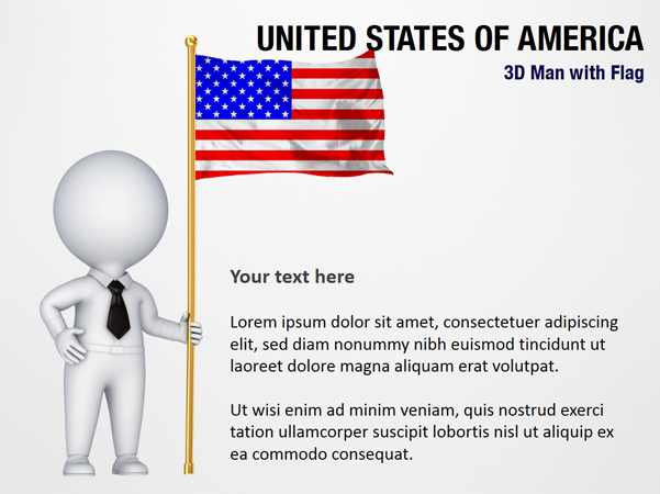 3D Man with United States of America