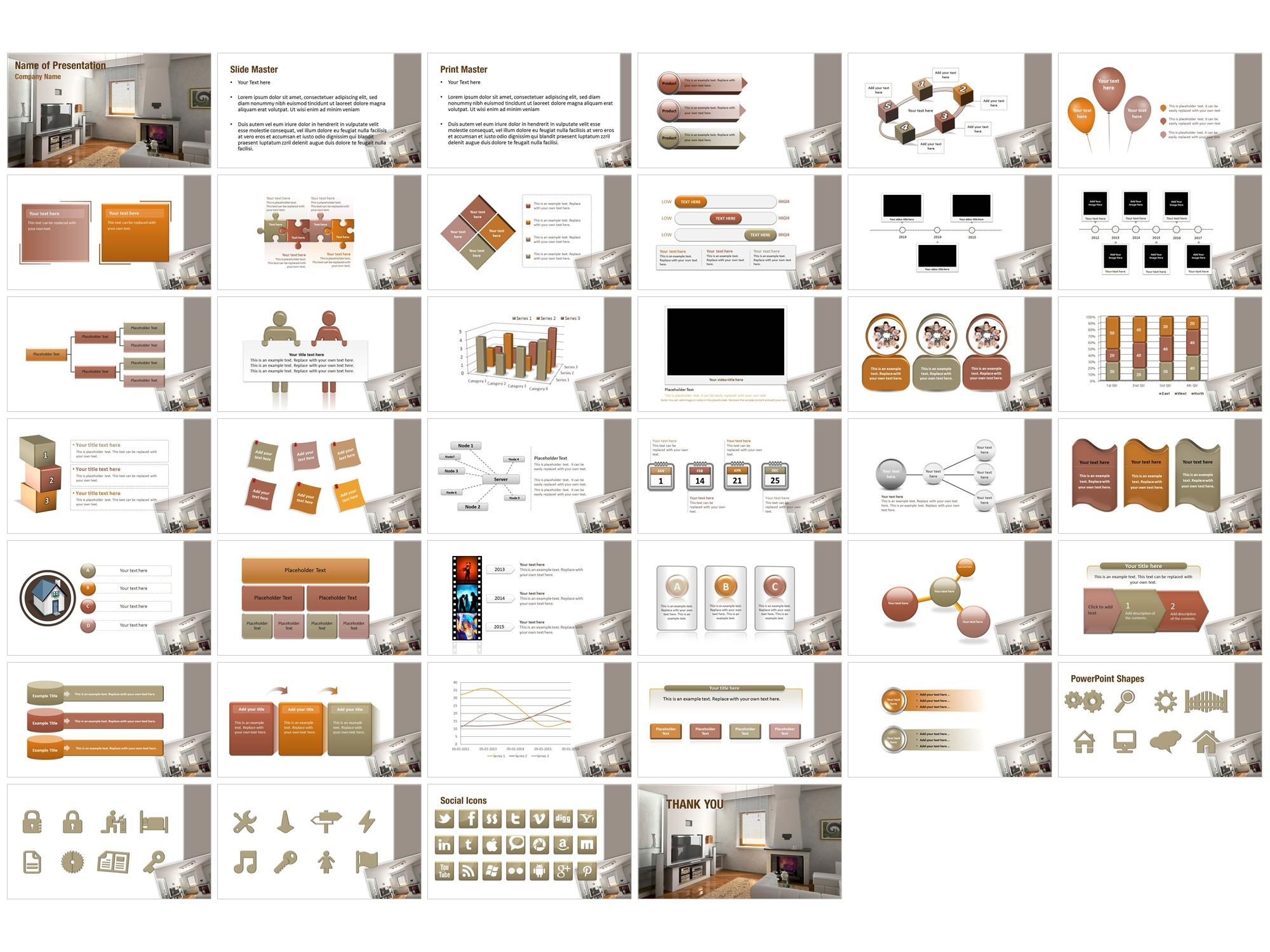 Modern interior powerpoint templates modern interior Interior design presentation templates