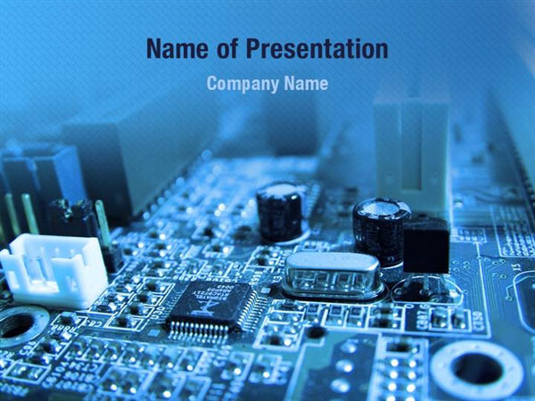 Blue Circuit PowerPoint Template Backgrounds