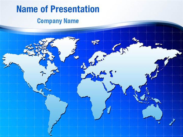 Deep Blue World Map PowerPoint Template Backgrounds